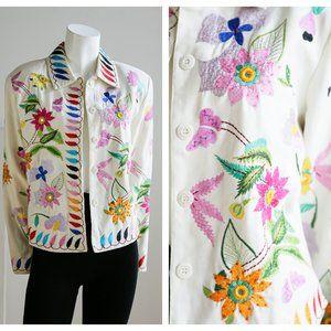 Vintage Anage Floral Embroidered Button Blazer